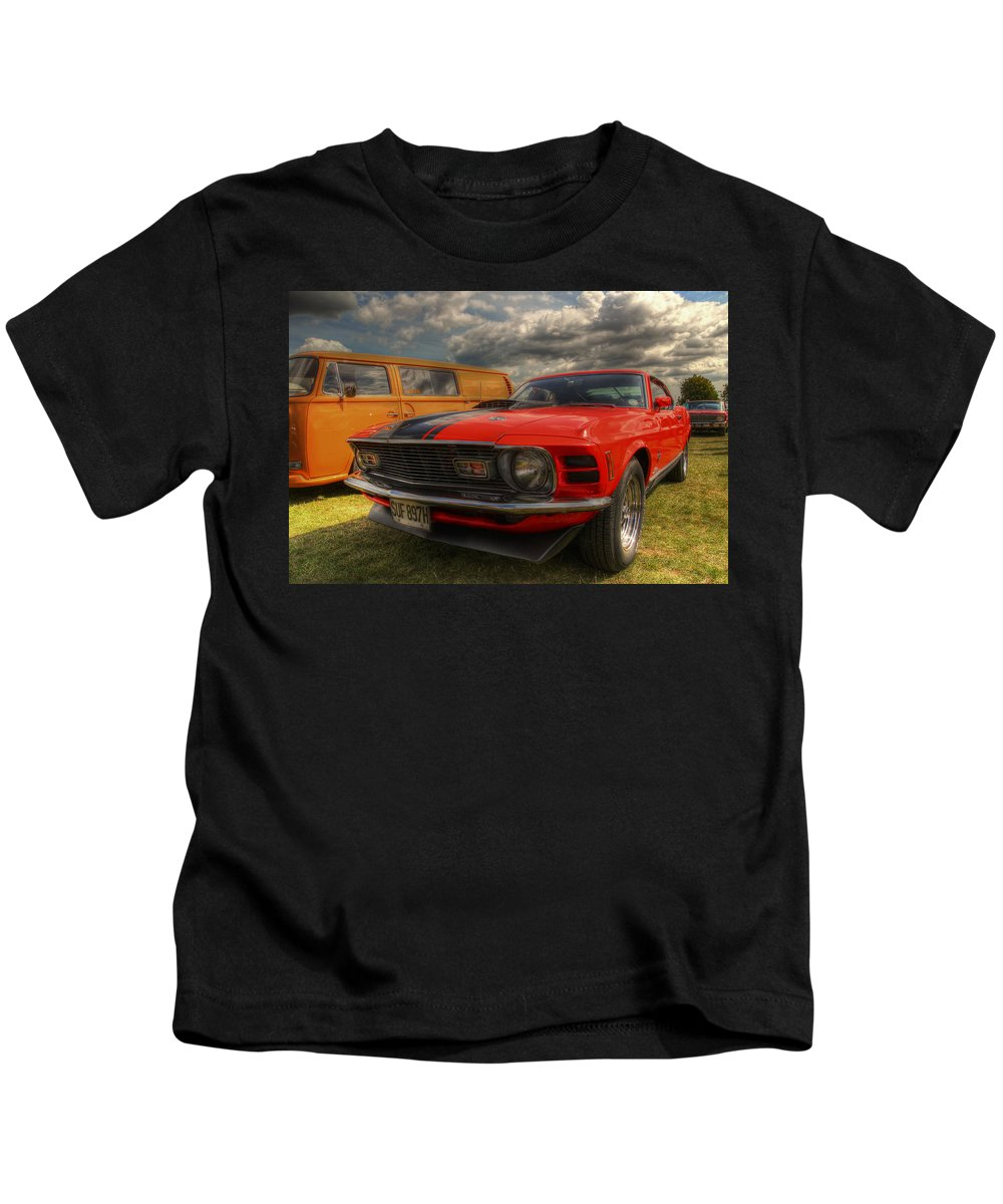 Ford Mustang Kids T-Shirt featuring the photograph Orange Mustang by Lee Nichols