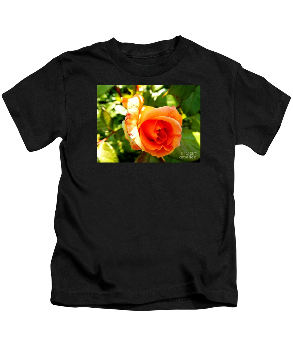 Floral Kids T-Shirt featuring the photograph Orange Rose Bloom by Loreta Mickiene