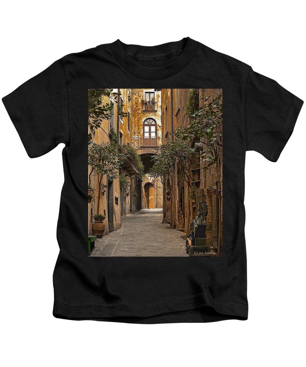 Orvieto Kids T-Shirt featuring the photograph Orvieto Side Street by Lynn Andrews