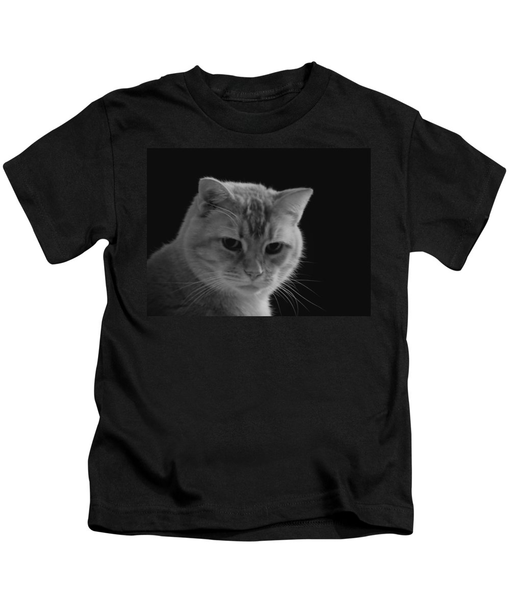 Cat Kids T-Shirt featuring the photograph Our Lion In Black And White by MTBobbins Photography