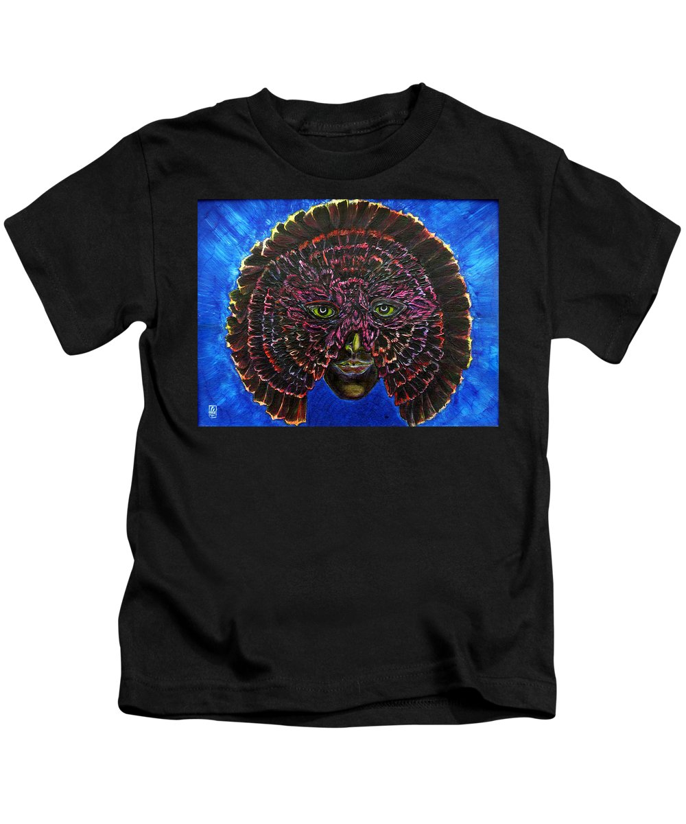 Surrealism Kids T-Shirt featuring the painting Owl Mask Self Portrait by Linda Falorio