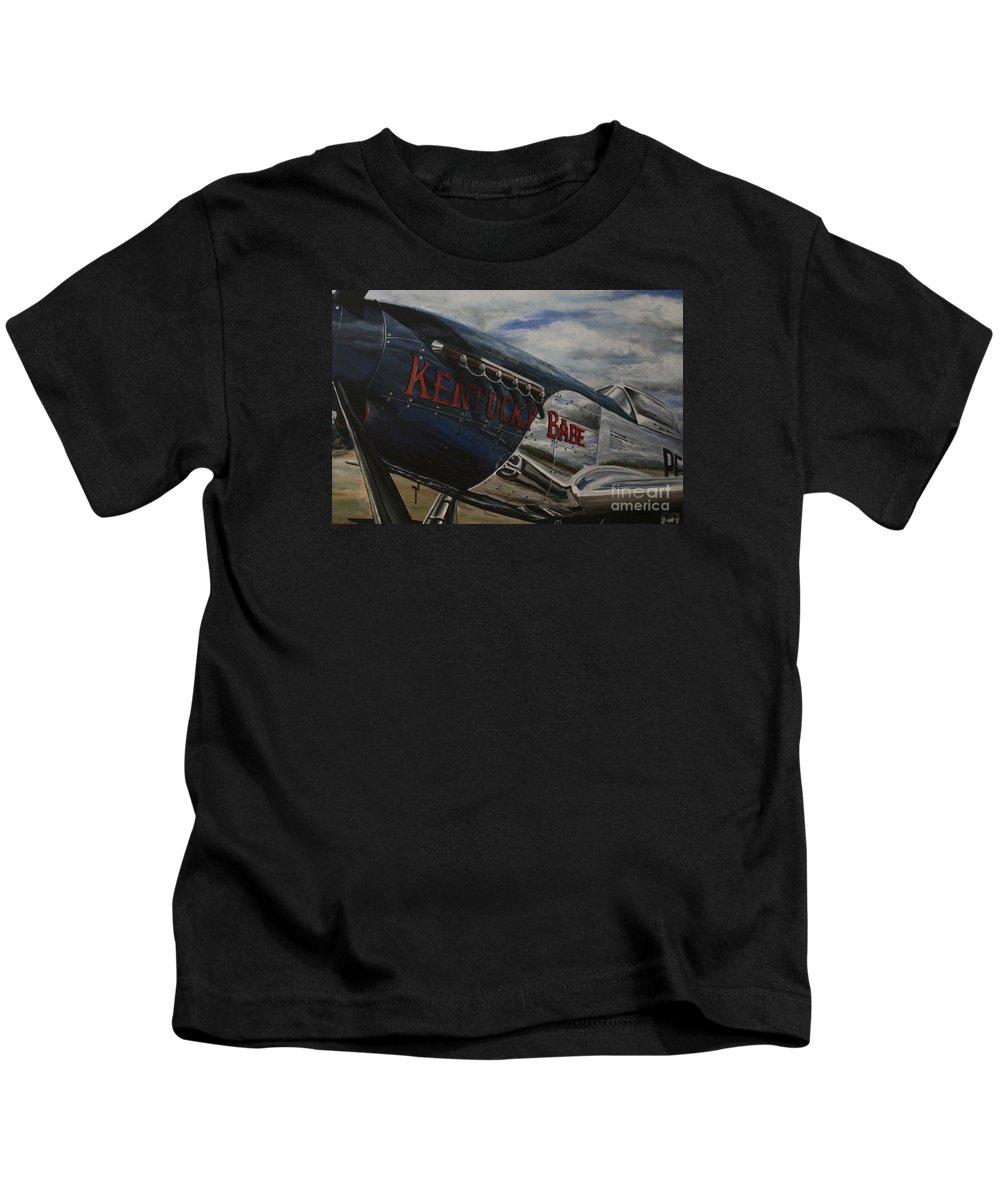 Warbirds Kids T-Shirt featuring the painting P51 Mustang Kentucky Babe Warbird by Richard John Holden RA