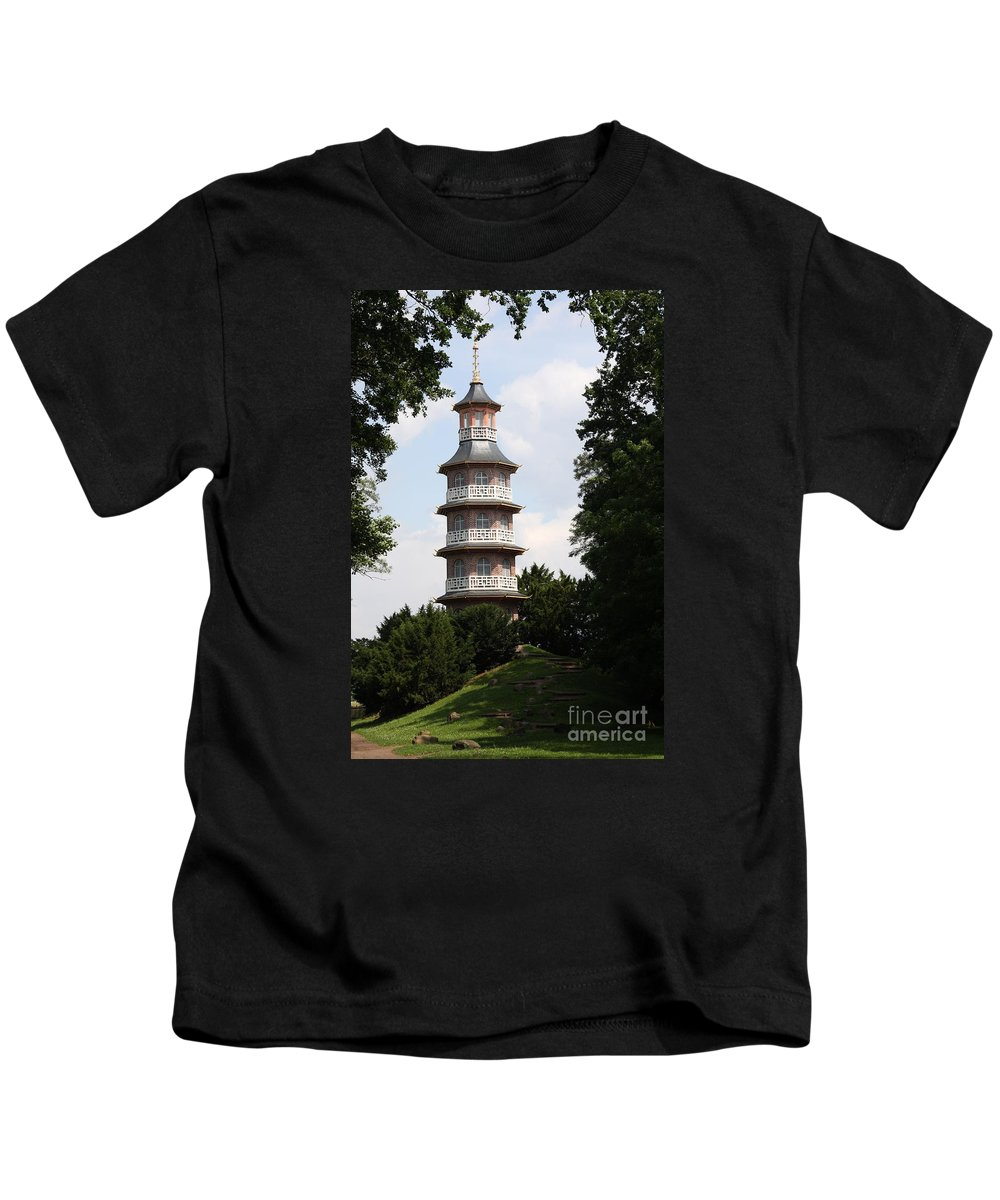 Pagoda Kids T-Shirt featuring the photograph Pagoda - Dessau Woerlitz by Christiane Schulze Art And Photography
