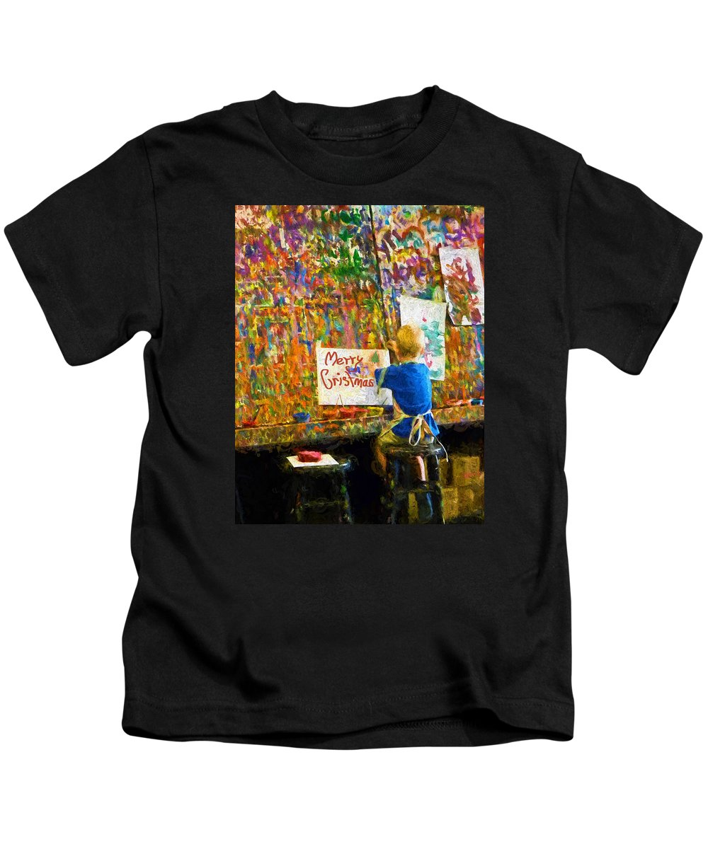 Boy Kids T-Shirt featuring the painting Painting My First Christmas Card by Sandi OReilly