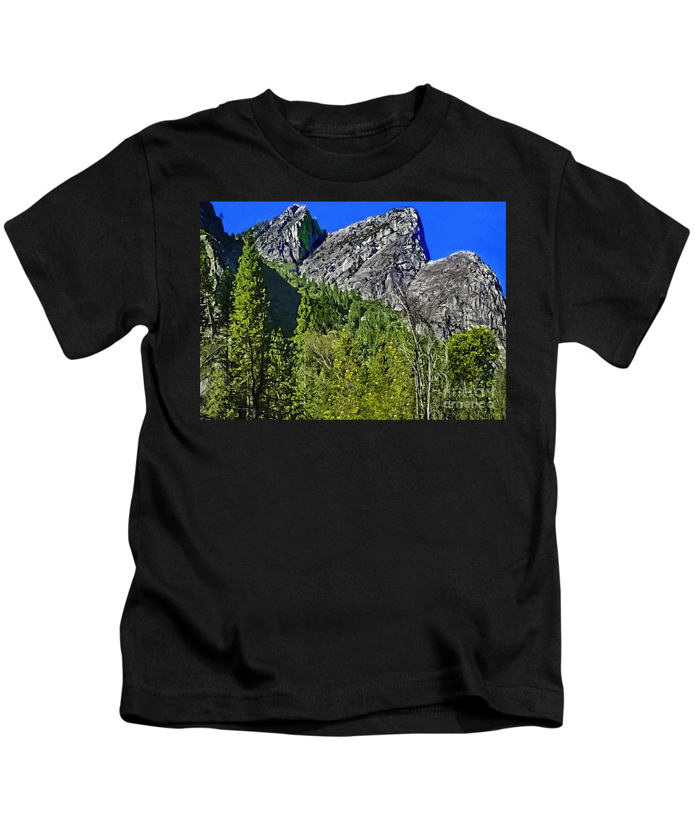 Yosemite Valley Kids T-Shirt featuring the painting Painting Three Brothers Peaks Yosemite Np by Bob and Nadine Johnston