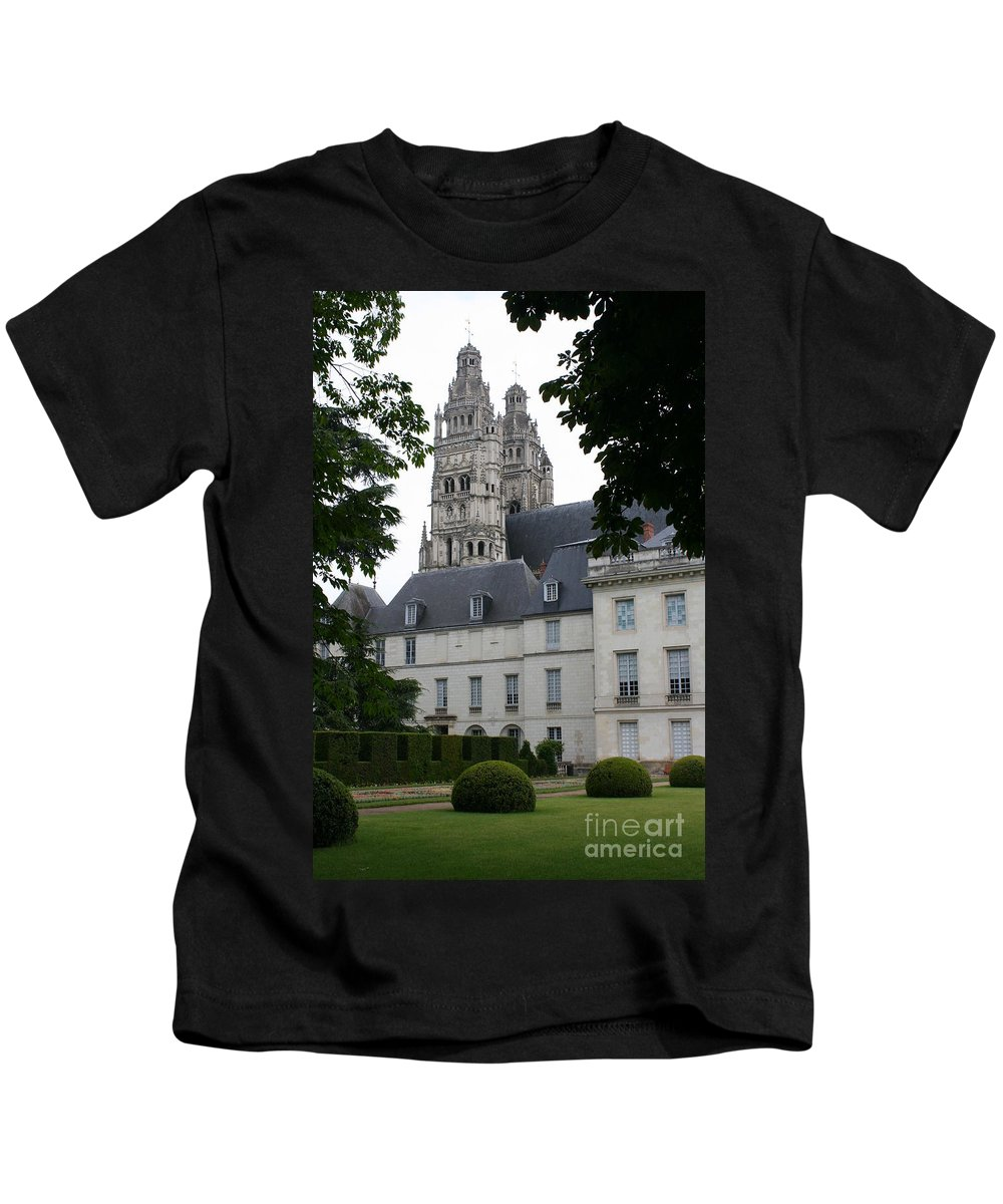 Cathedral Kids T-Shirt featuring the photograph Palais In Tours With Cathedral Steeple by Christiane Schulze Art And Photography