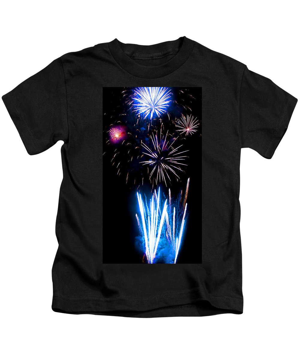 Fireworks Kids T-Shirt featuring the photograph Pale Blue And Red Fireworks by Weston Westmoreland