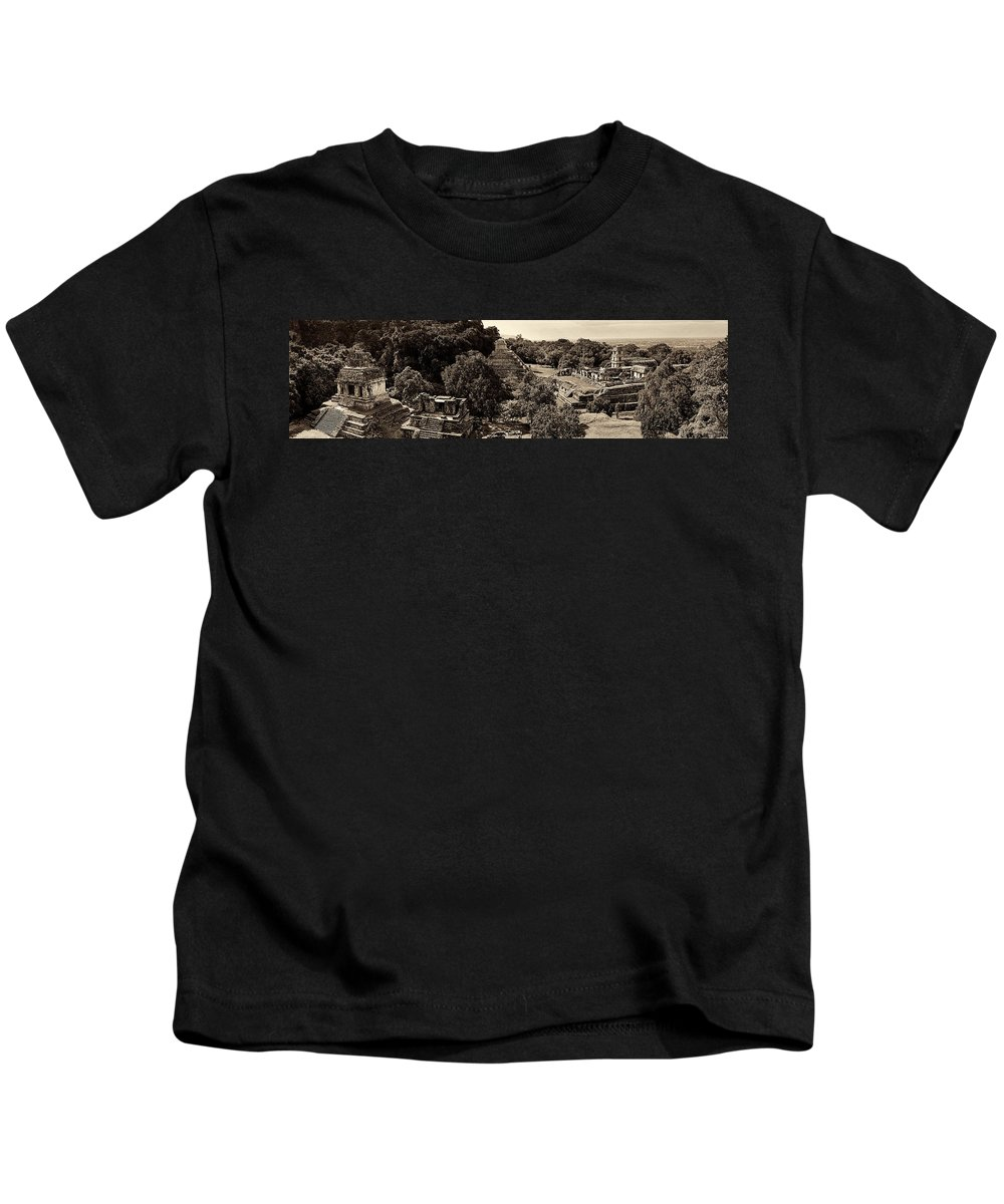 Palenque Kids T-Shirt featuring the photograph Palenque From The Jungle Panorama Sepia by Weston Westmoreland
