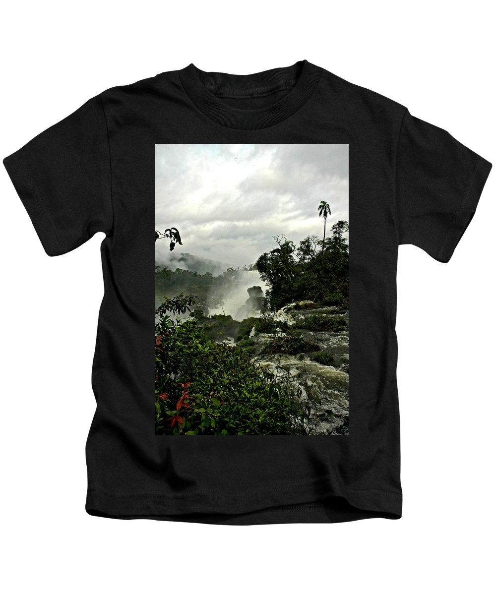 Iguazu Falls Kids T-Shirt featuring the photograph Palm Sentry At Iguazu by Norman Johnson