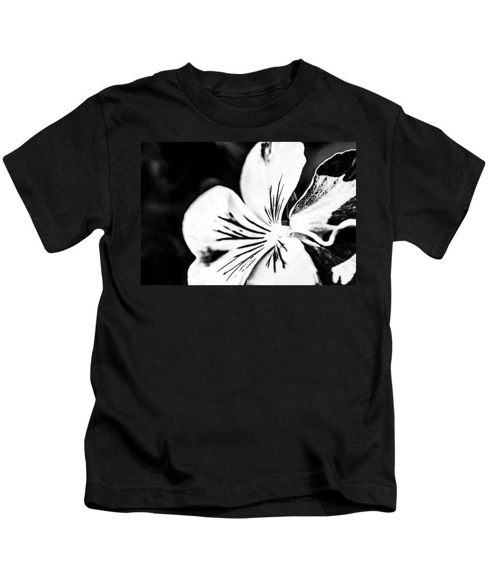 Flower Kids T-Shirt featuring the photograph Pansy Flower Black And White 02 by Alexander Senin