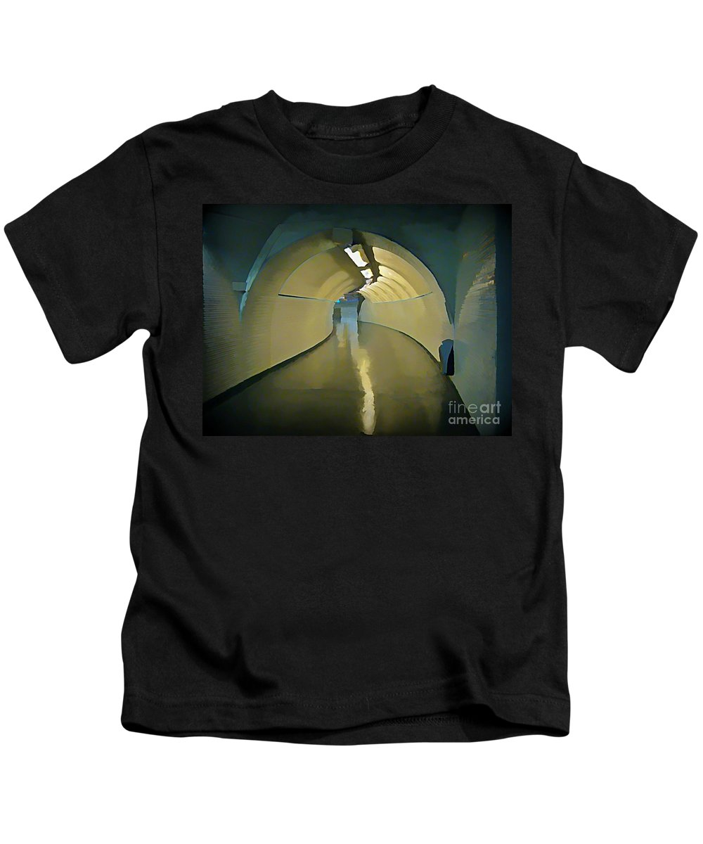 Subway Kids T-Shirt featuring the painting Paris Subway Connecting Tunnel by John Malone