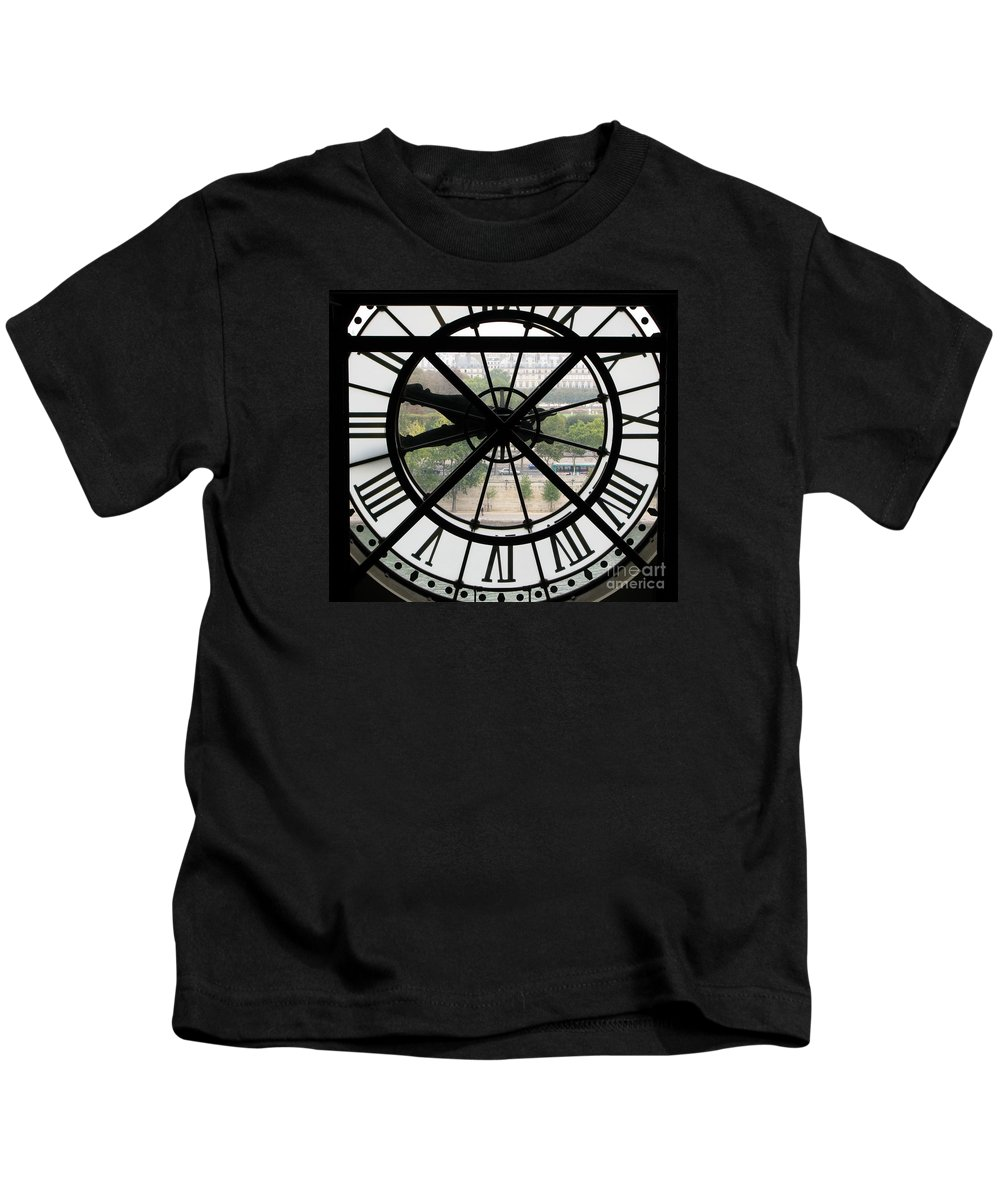 Clock Kids T-Shirt featuring the photograph Paris Time by Ann Horn