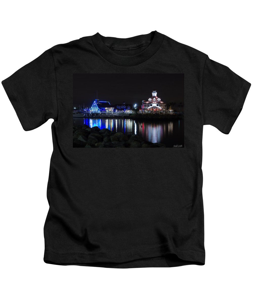 America Kids T-Shirt featuring the photograph Parker's Lighthouse Reflections by Heidi Smith