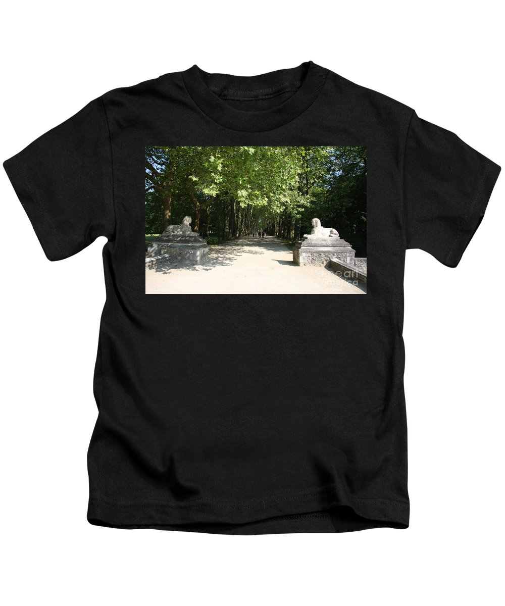 Egyptian Statue Kids T-Shirt featuring the photograph Parkway Chateau Chenonceaux France by Christiane Schulze Art And Photography