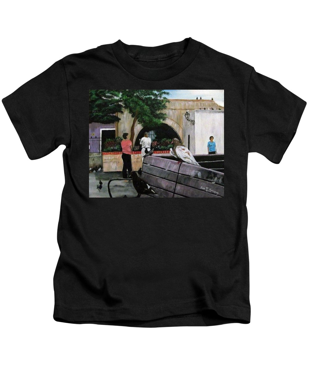 Parque De Palomas Kids T-Shirt featuring the painting Parque De Palomas by Luis F Rodriguez
