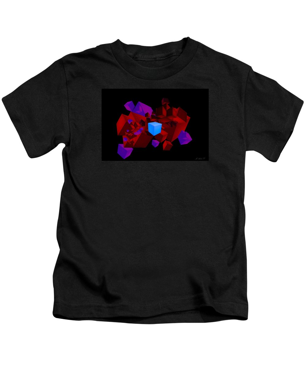Abstract Squares Kids T-Shirt featuring the digital art Passion by Marcus Lewis