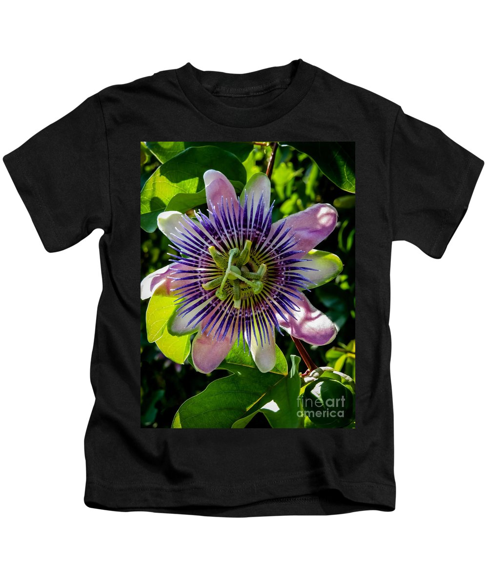 Passion Flower Kids T-Shirt featuring the photograph Passion Vine by Zina Stromberg