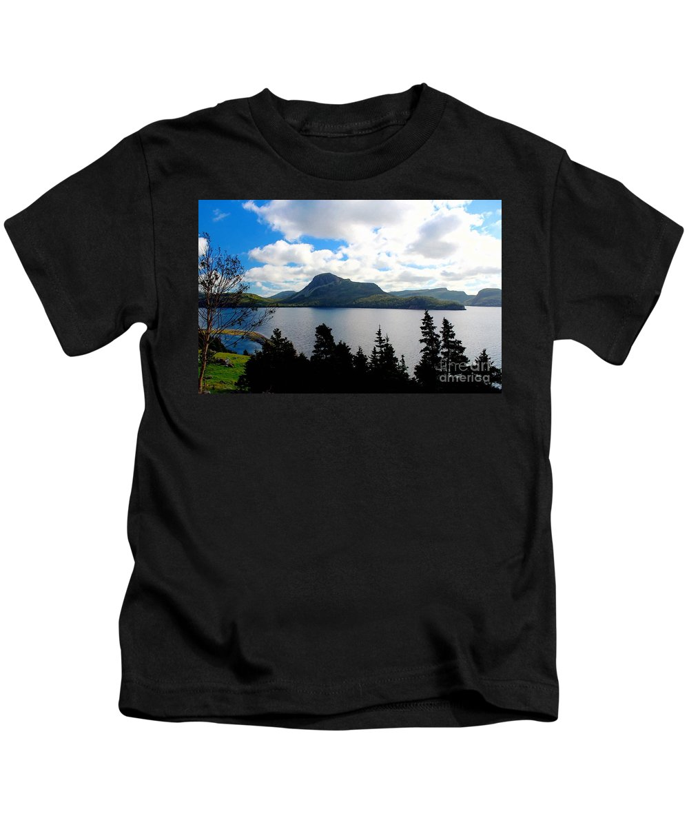 Pastoral Scene By The Ocean Painterly Kids T-Shirt featuring the photograph Pastoral Scene By The Ocean Painterly by Barbara Griffin