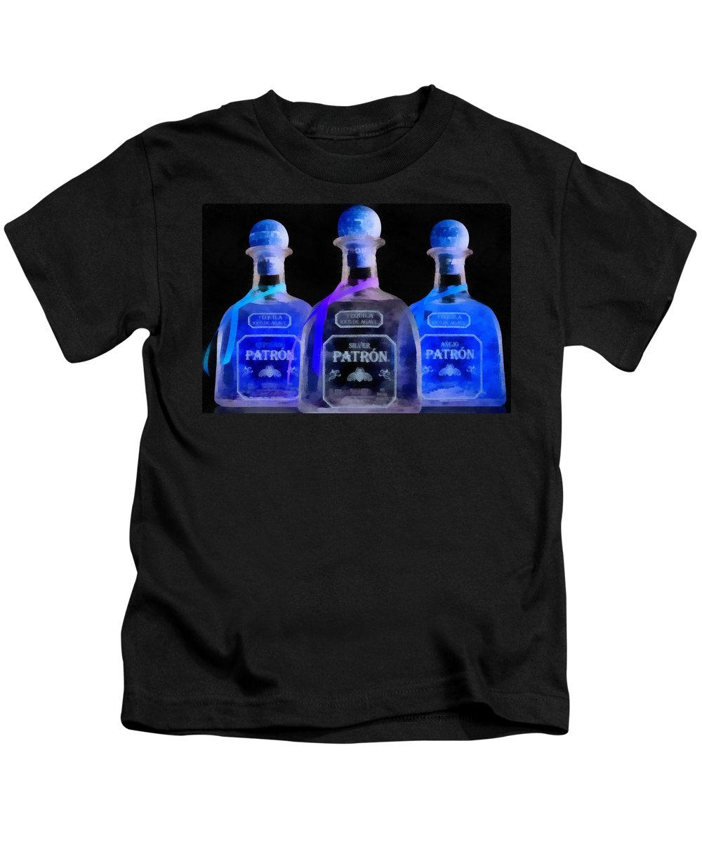 Patron Tequila Black Light Kids T-Shirt featuring the painting Patron Tequila Black Light by Dan Sproul