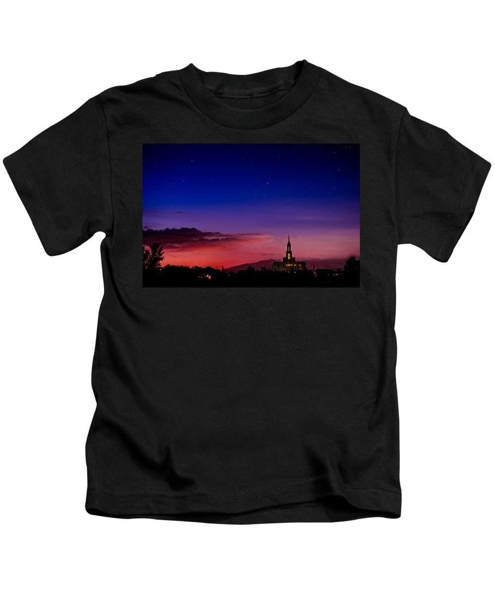 Lds Temples Kids T-Shirt featuring the photograph Payson Temple Starry Night Artistic by La Rae Roberts