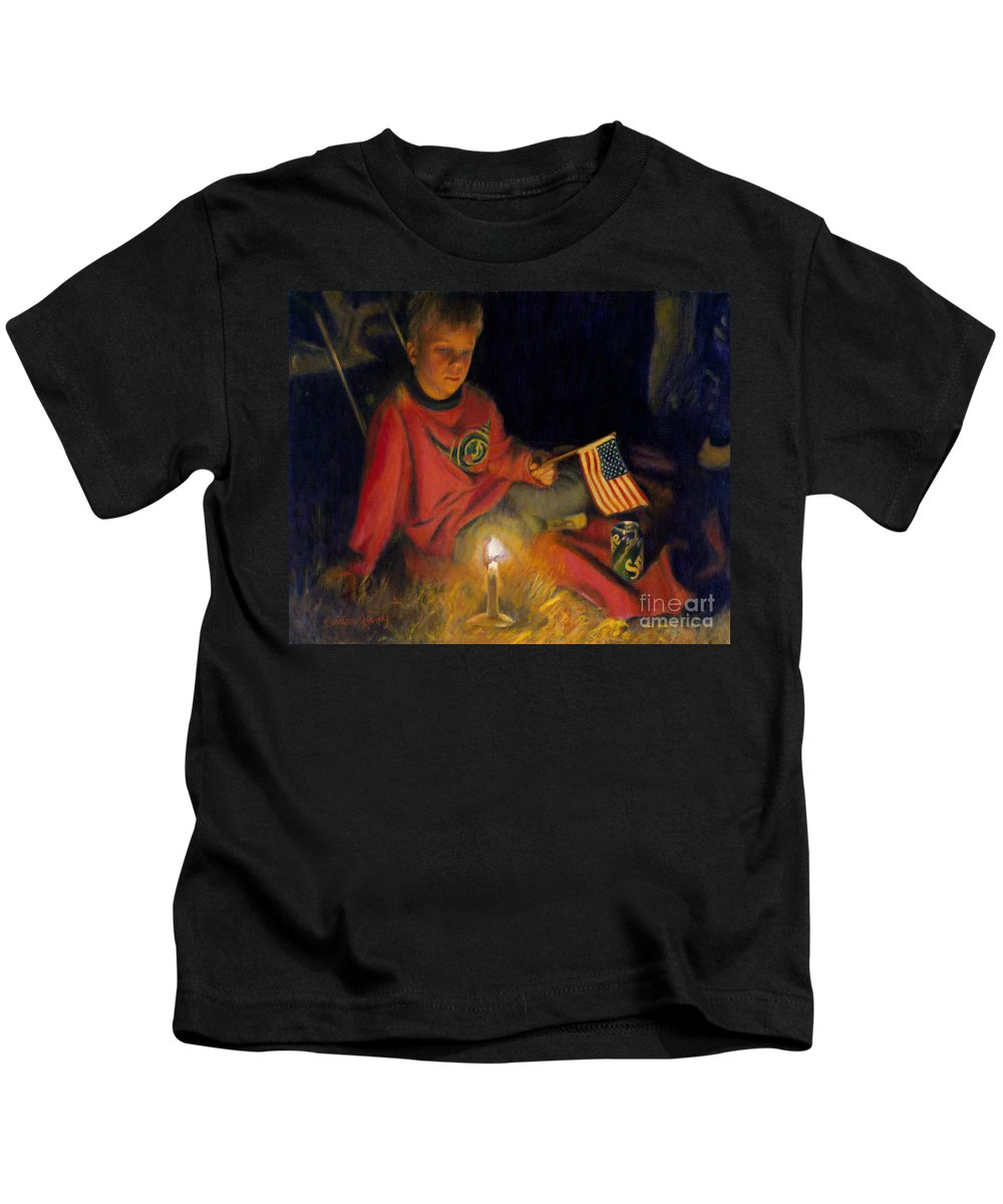 Boy Kids T-Shirt featuring the painting Peaceable Kingdom by Candace Lovely