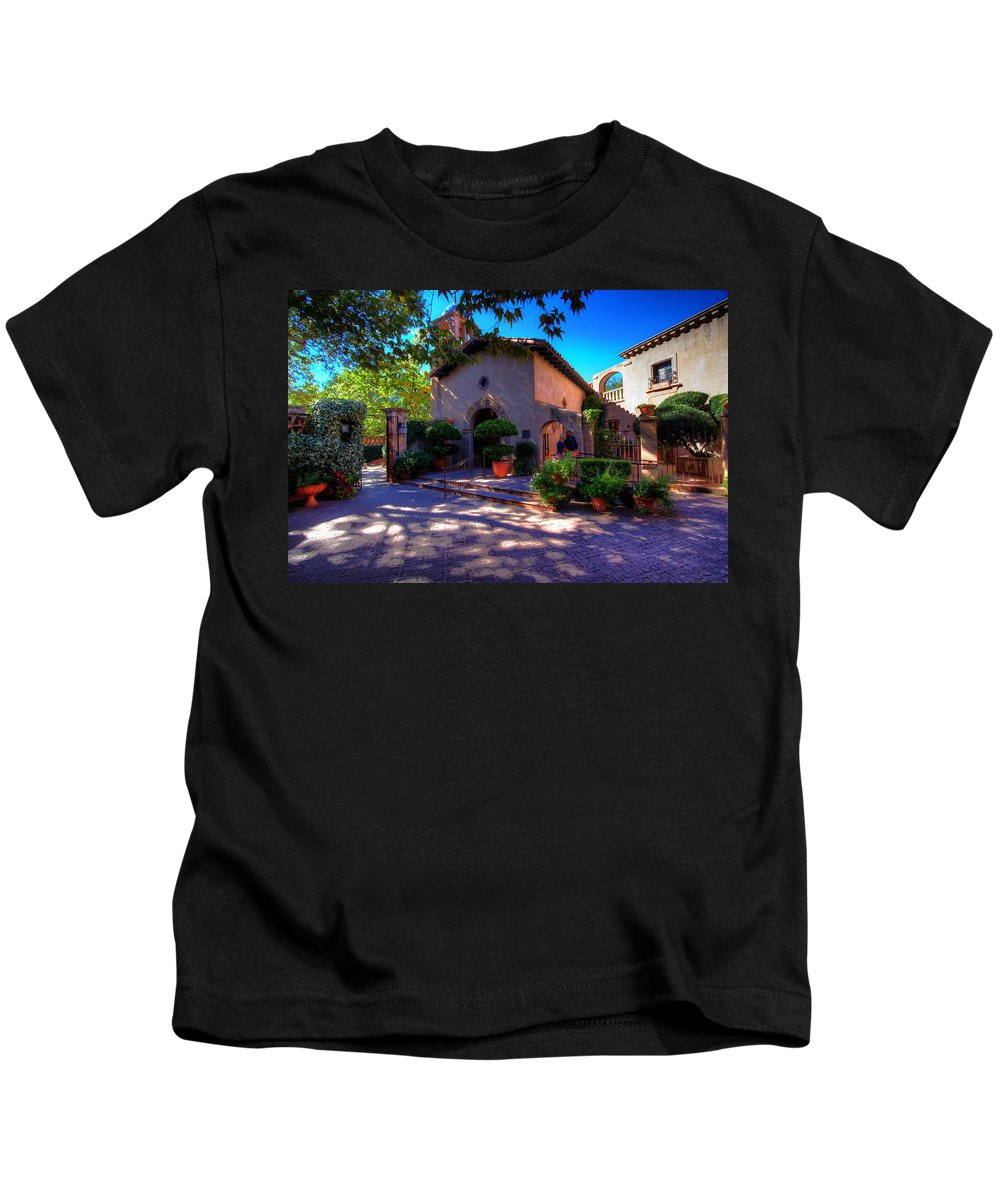 Church Kids T-Shirt featuring the photograph Peaceful Plaza by Dave Files