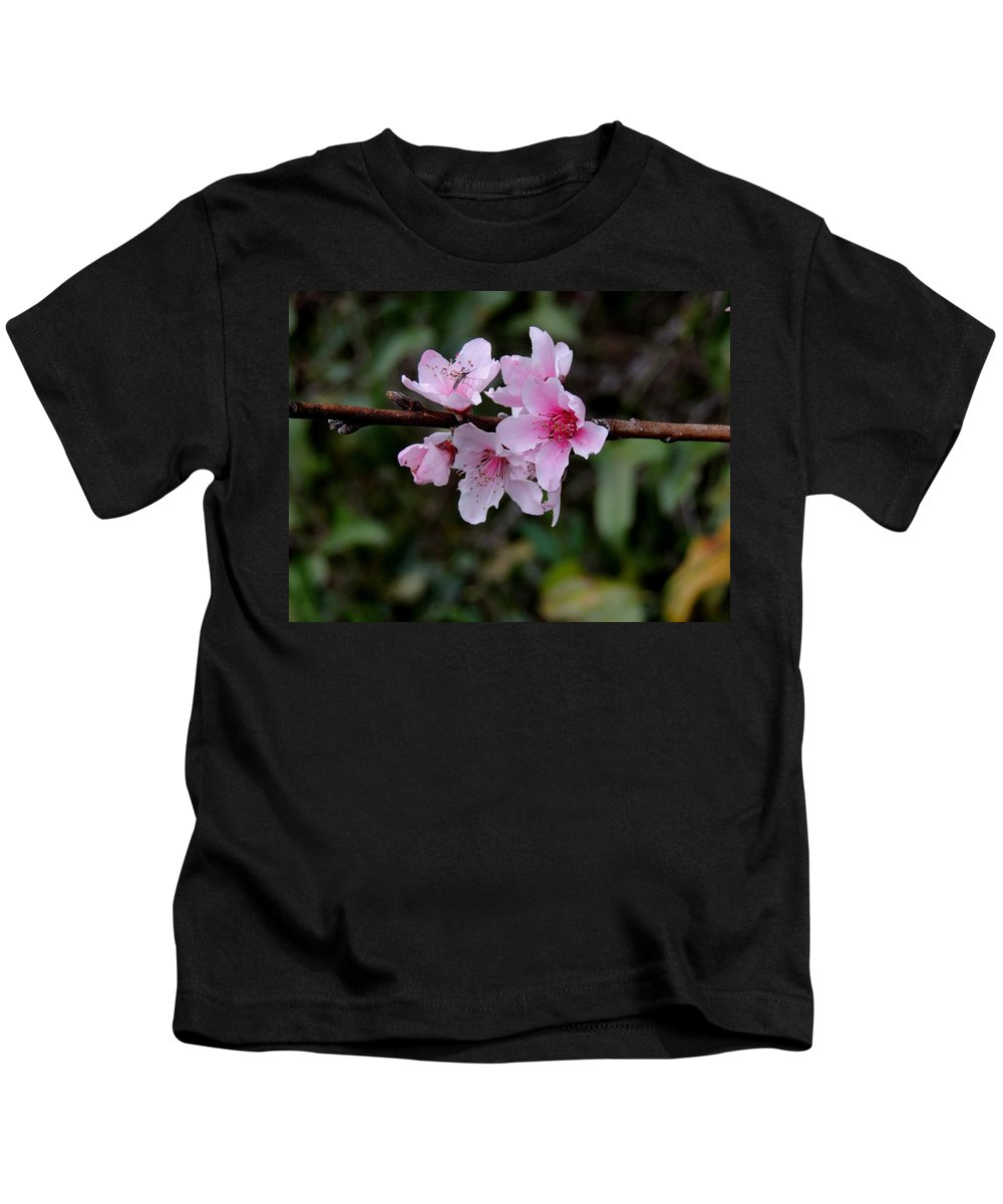 Digital Photography Kids T-Shirt featuring the photograph Peach Tree Blooms Miskitos Swoon by Kim Pate