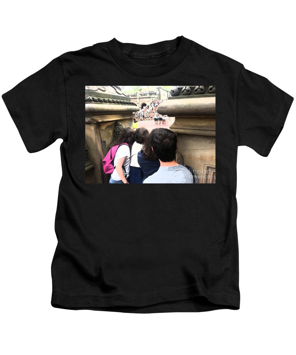 Show Kids T-Shirt featuring the photograph Peeking Through The Opening To Watch The Show by Christy Gendalia