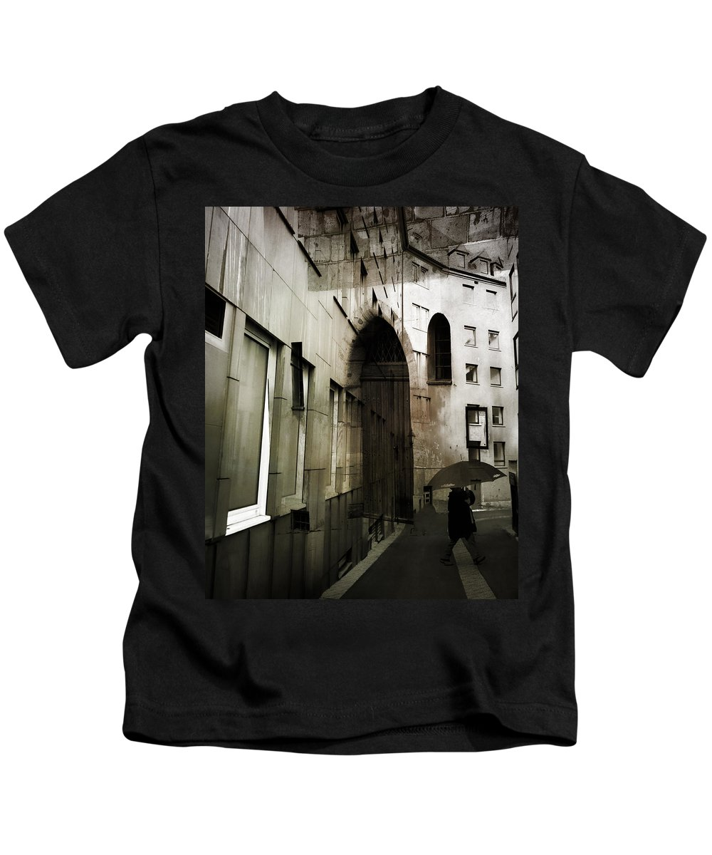 Street Photography Kids T-Shirt featuring the photograph Pelted Streets by The Artist Project