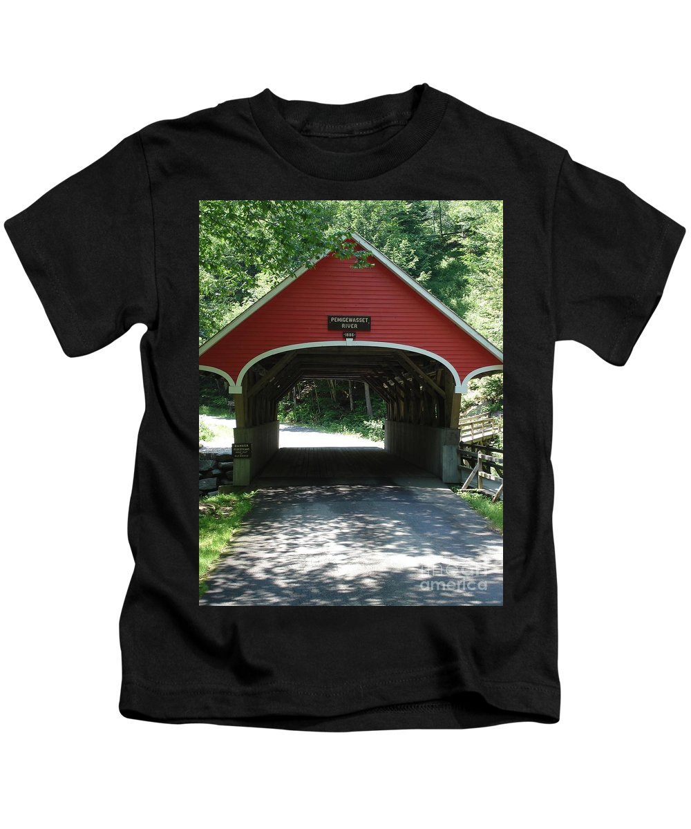 Pemigewasset Kids T-Shirt featuring the photograph Pemigewasset River Bridge by Kerri Mortenson