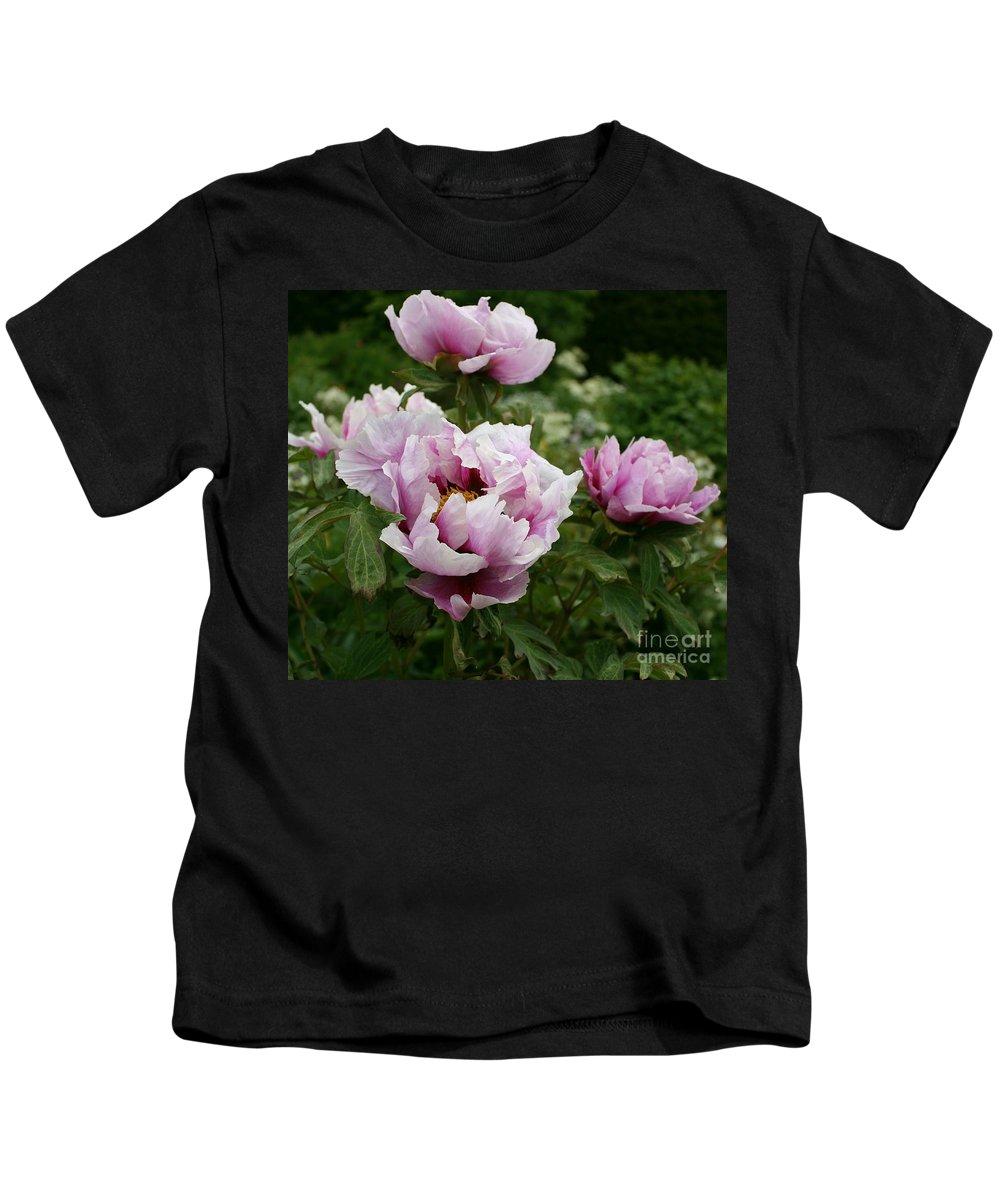 Peony Kids T-Shirt featuring the photograph Peony Bush by Christiane Schulze Art And Photography