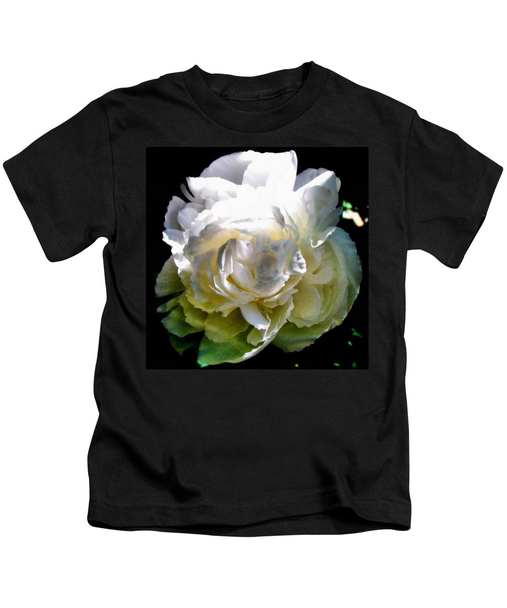 White Peony Kids T-Shirt featuring the photograph Peony In Morning Sun by Michelle Calkins