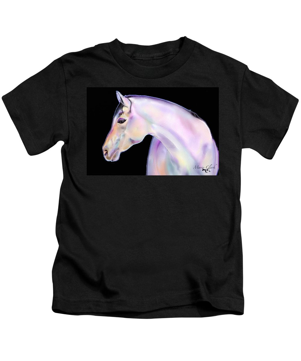 Horse Paintings/prints Kids T-Shirt featuring the painting Perlino Night by Marie Clark