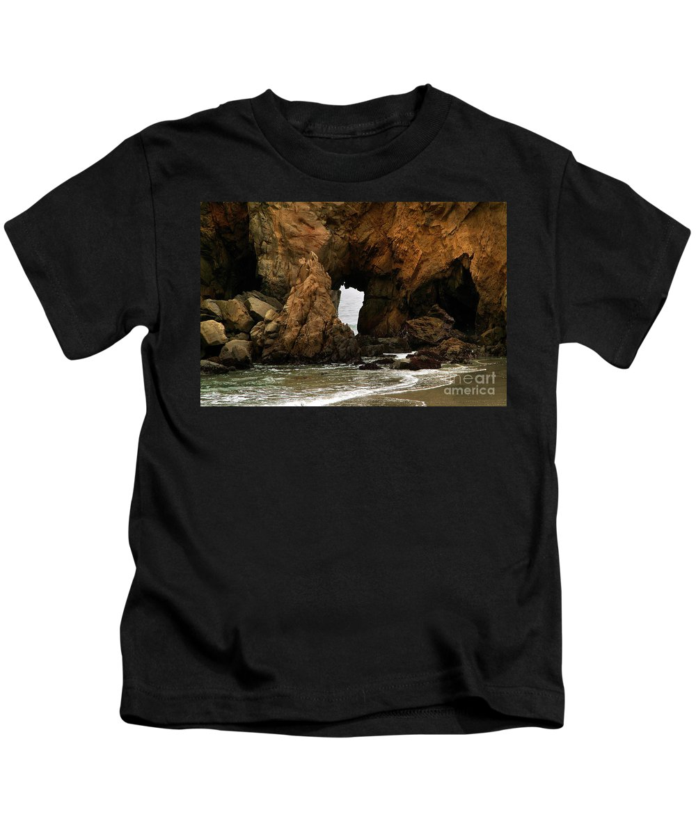 Pfeiffer Beach Kids T-Shirt featuring the photograph Pfeiffer Beach Rocks In Big Sur by Charlene Mitchell