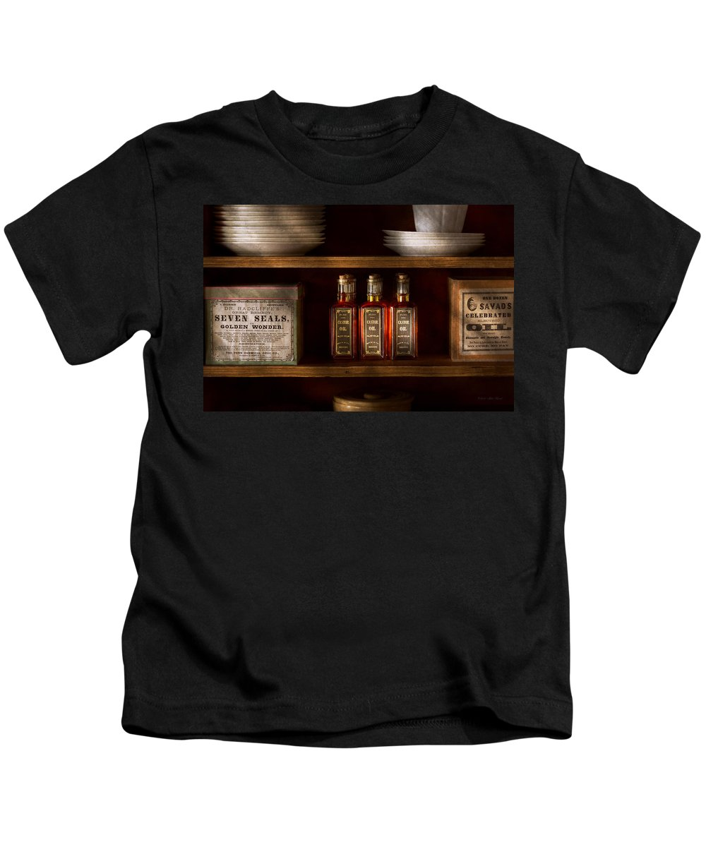 Self Kids T-Shirt featuring the photograph Pharmacy - For All Your Lubrication Needs by Mike Savad