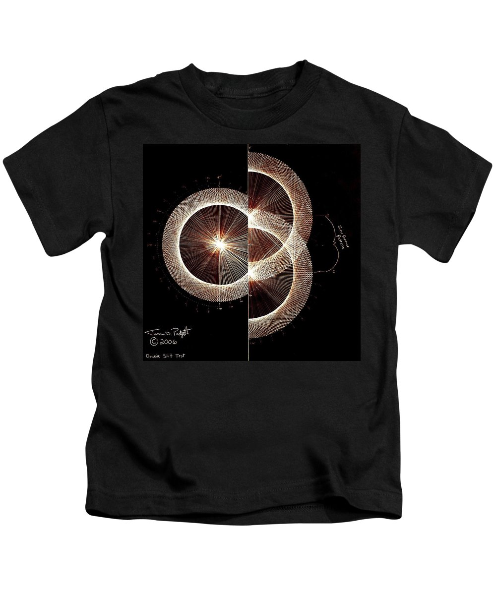 Kids T-Shirt featuring the drawing Photon Double Slit Test Hand Drawn by Jason Padgett