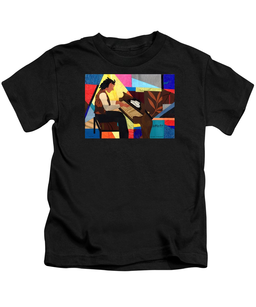 Everett Spruill Kids T-Shirt featuring the painting Piano Man by Everett Spruill