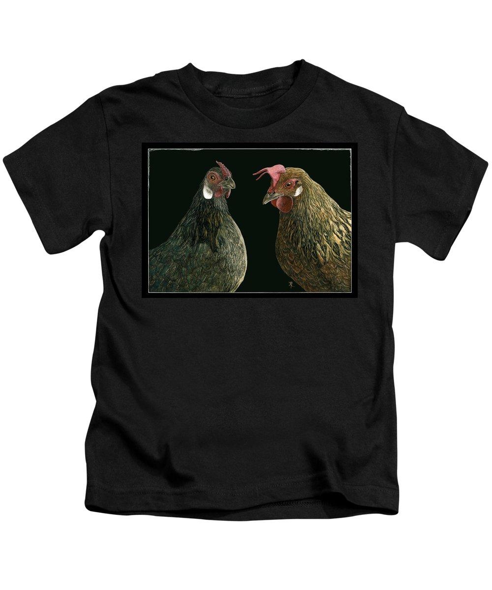 Bird Kids T-Shirt featuring the drawing Pick A Little Talk A Little by Ann Ranlett