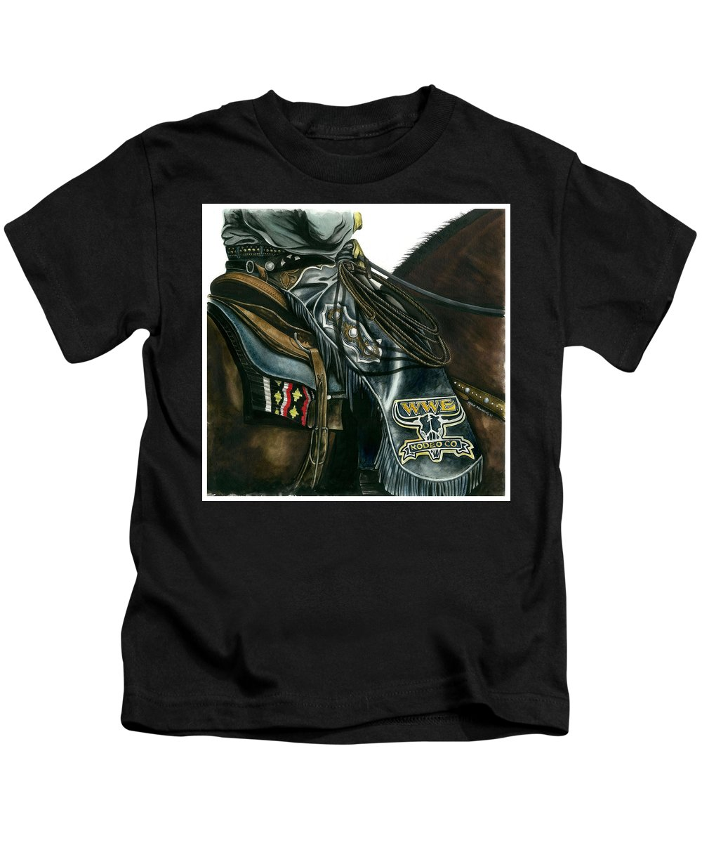 Western Art Kids T-Shirt featuring the painting Pickup Man by Marie Downing
