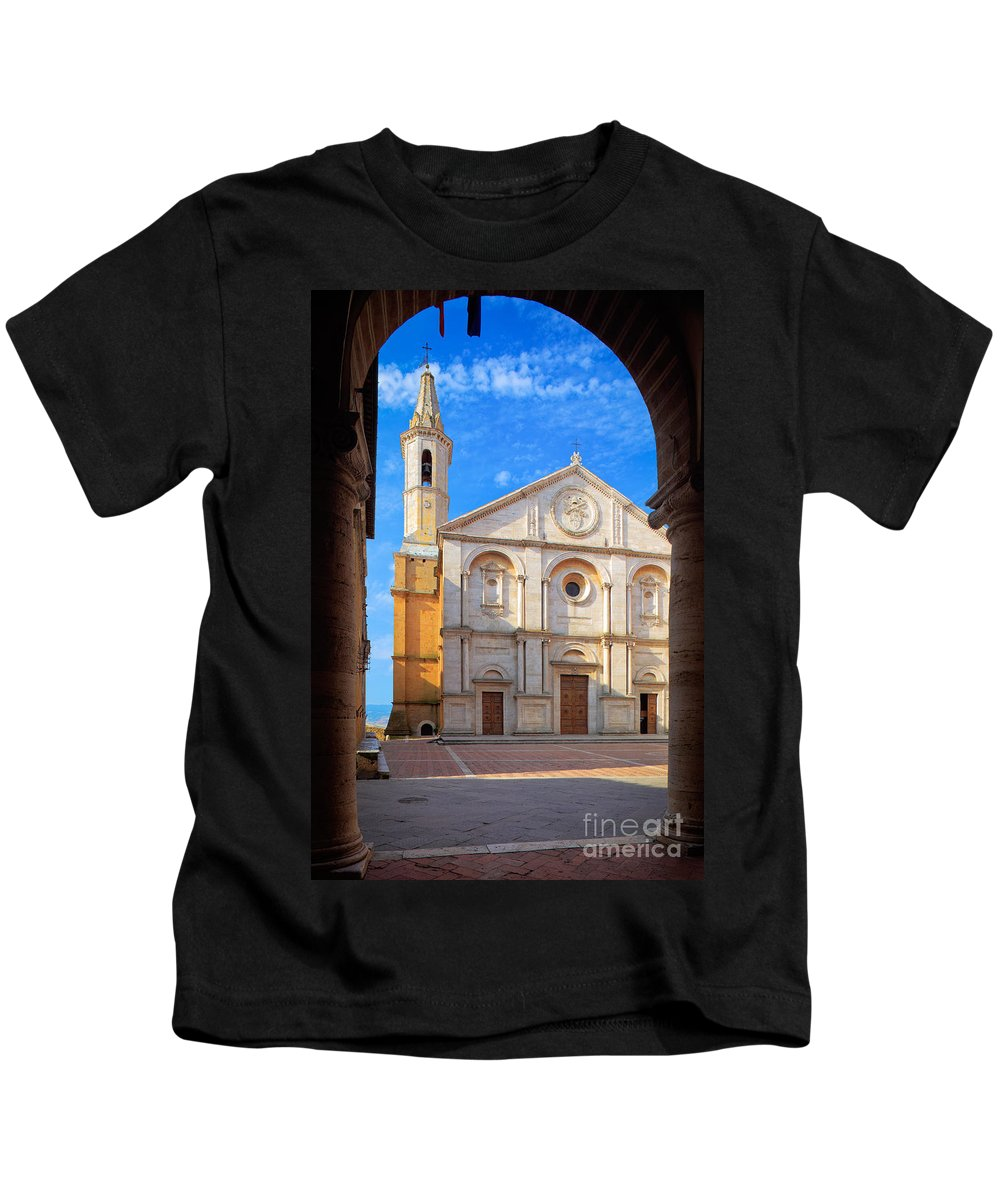 Christianity Kids T-Shirt featuring the photograph Pienza Duomo by Inge Johnsson
