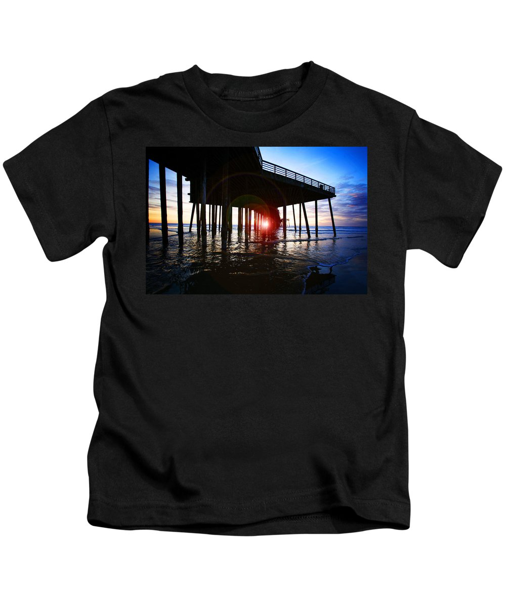 Pier Kids T-Shirt featuring the photograph Pier At Sunset by Jeff Klingler