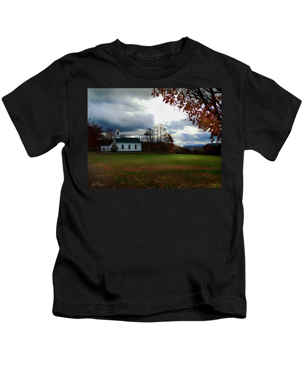 Piermont New Hampshire Kids T-Shirt featuring the photograph Piermont Church In Autumn Dusk by Nancy Griswold