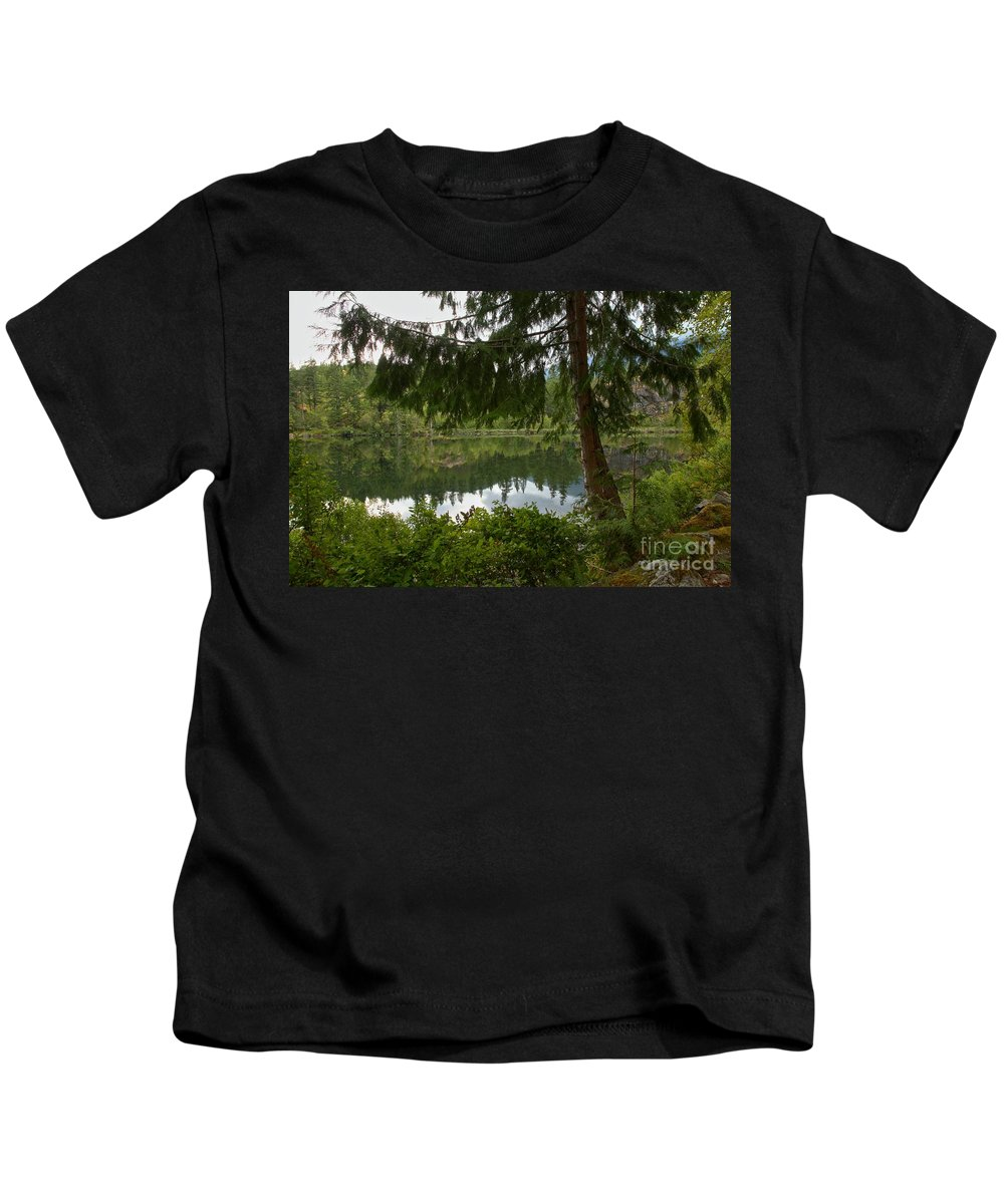 Starvation Lake Kids T-Shirt featuring the photograph Pine Trees Over Starvation Lake by Adam Jewell