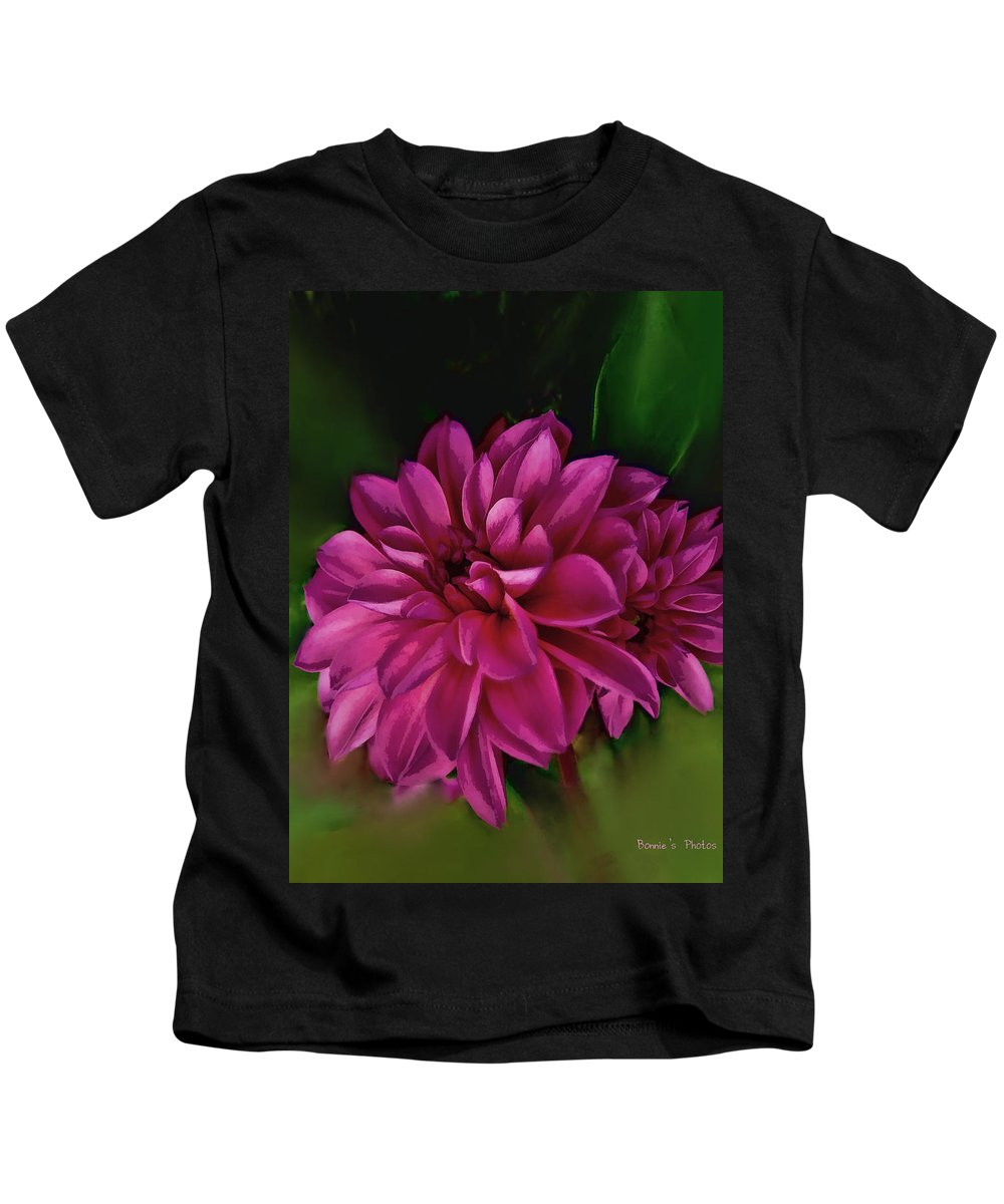 Dahlia Kids T-Shirt featuring the photograph Pink Dahlia by Bonnie Willis