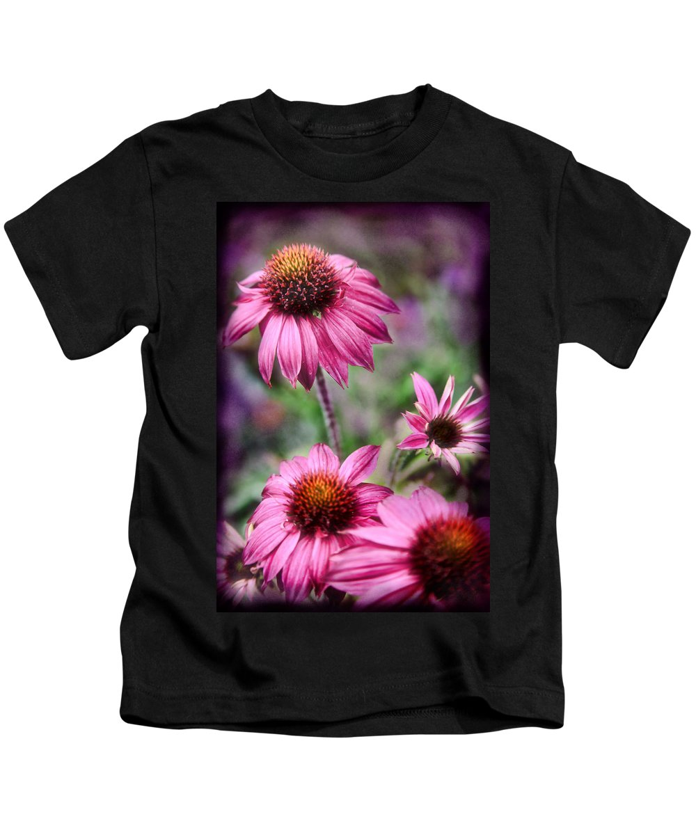 Daisies Kids T-Shirt featuring the photograph Pink Daisies by Sally Bauer
