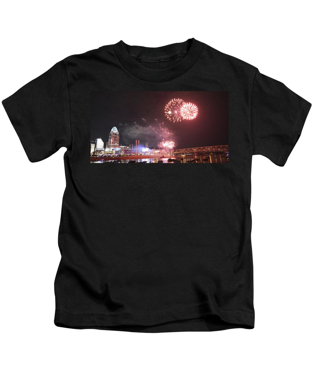 Fireworks Kids T-Shirt featuring the photograph Pink Flashes by Kathy Barney