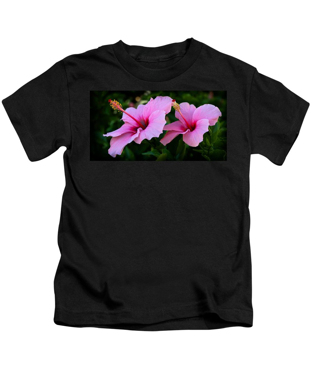 Hibiscus Kids T-Shirt featuring the photograph Pink Hibiscus II by Athena Mckinzie