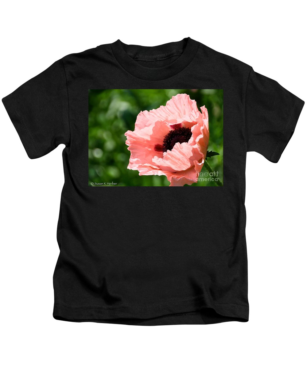 Flower Kids T-Shirt featuring the photograph Pink Poppy Today by Susan Herber
