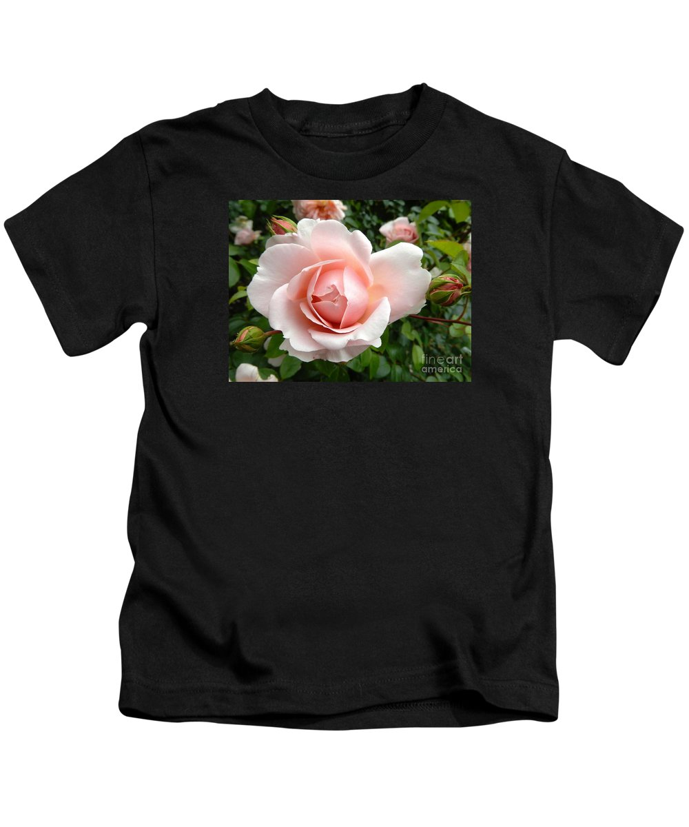 Nature Kids T-Shirt featuring the photograph Pink Rose by Loreta Mickiene
