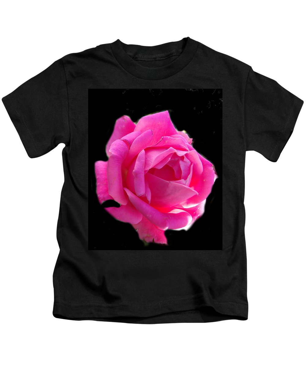 Pink Kids T-Shirt featuring the photograph Pink Rose On Black by Erin Rednour